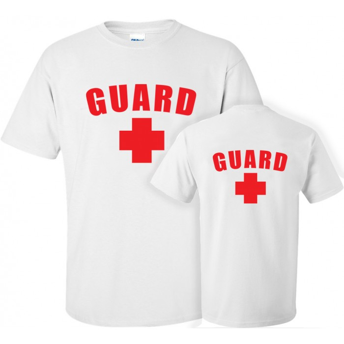 White Lifeguard T-Shirt w/Back Logo
