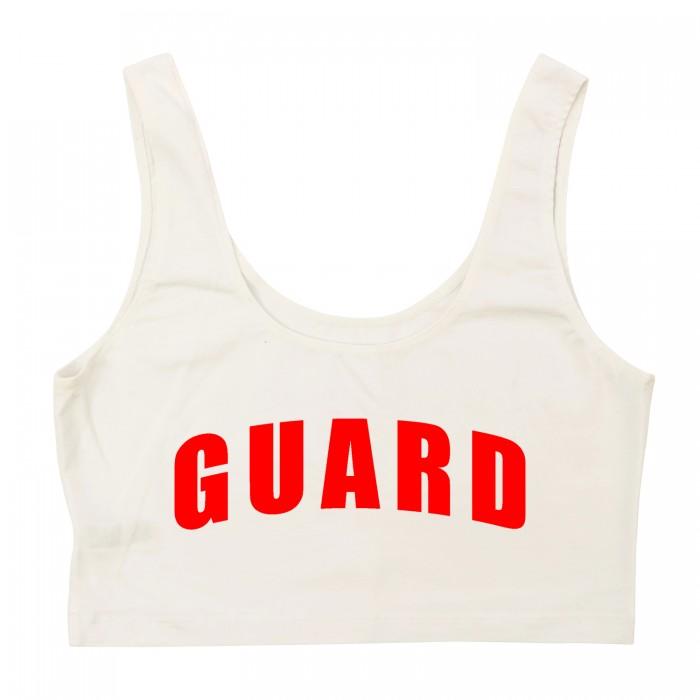 White Lifeguard Crop Tank Top