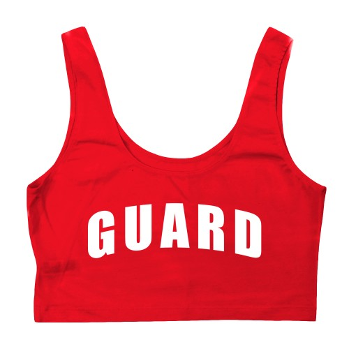 Red Womens Lifeguard Crop Tank Top