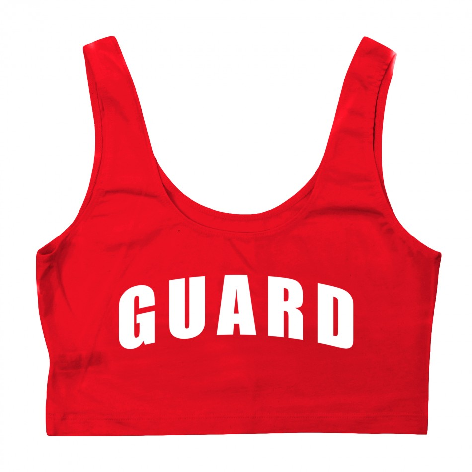 cd2aa0514a1c2 Red Womens Lifeguard Crop Tank Top