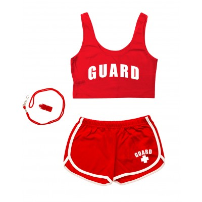 Red Womens Lifeguard Crop Top Outfit