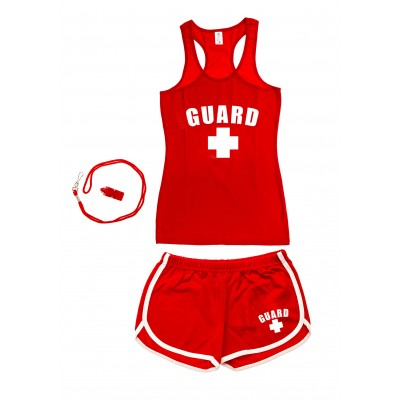 Red Womens Lifeguard Racerback Outfit