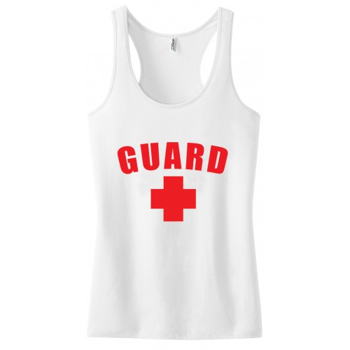 White Womens Lifeguard Racerback Tank Top