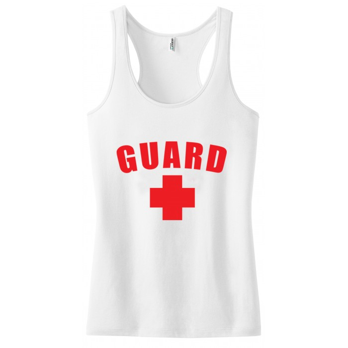 White Womens Lifeguard Racerback Tank Top
