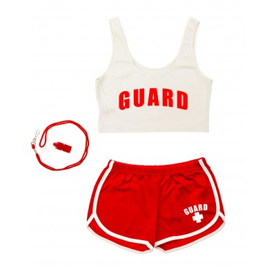 White Womens Lifeguard Crop Top Outfit