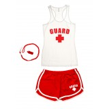 White Womens Lifeguard Racerback Outfit