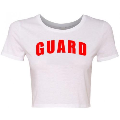 White Womens Lifeguard Crop Shirt